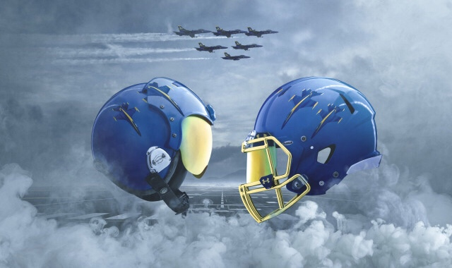 The Navy football team will wear Under Armour Blue Angels uniforms for the 2017 Army-Navy Game.